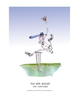 Ther Spin Bowler - signed print